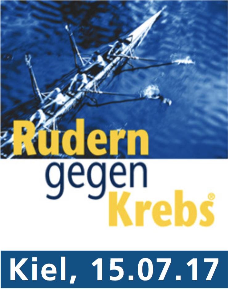 """Schriftzug """"Rudern gegen Krebs"""" mit Datum 15. Juli 2017 über der Draufsicht auf ein Ruderboot"""