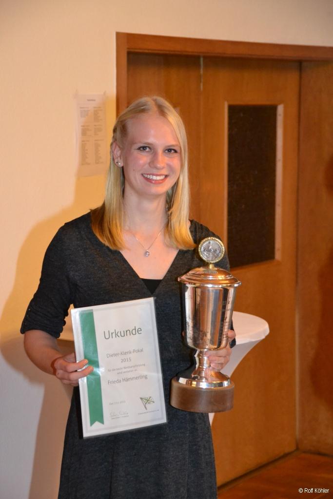 Ehrung von Frieda Hämmerling als beste Sportlerin der RG Germania auf dem 133-jährigen Stiftungsfest am 7. Nov. 2015