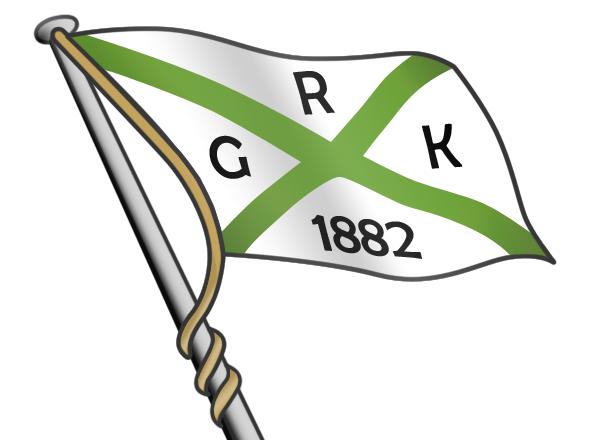 weiße Flagge mit zwei gekreuzten grünen Linien und den Buchstaben R, G, K und die Jahreszahl 1882 darin