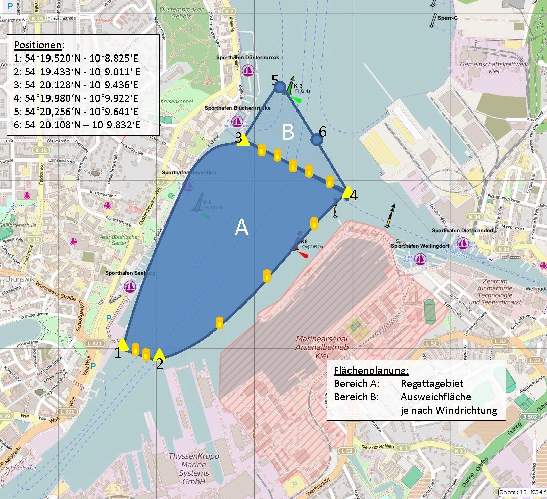 Regattafläche des Sailing-Cups in Kiel