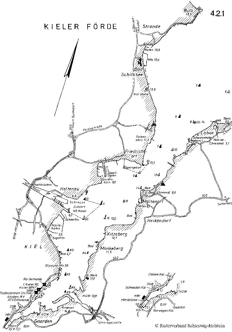 Zeichnung der Kieler Förde mit Fahrwassertonnen, Kilometerierung