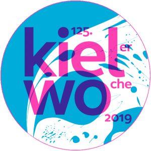Mit grafischen Formen gestaltetes Plakat der Kieler Woche 2019