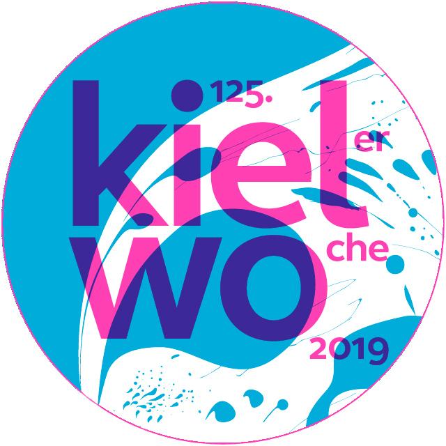 Runder Ausschnitt des mit grafischen Formen gestalteten Plakats der Kieler Woche 2019