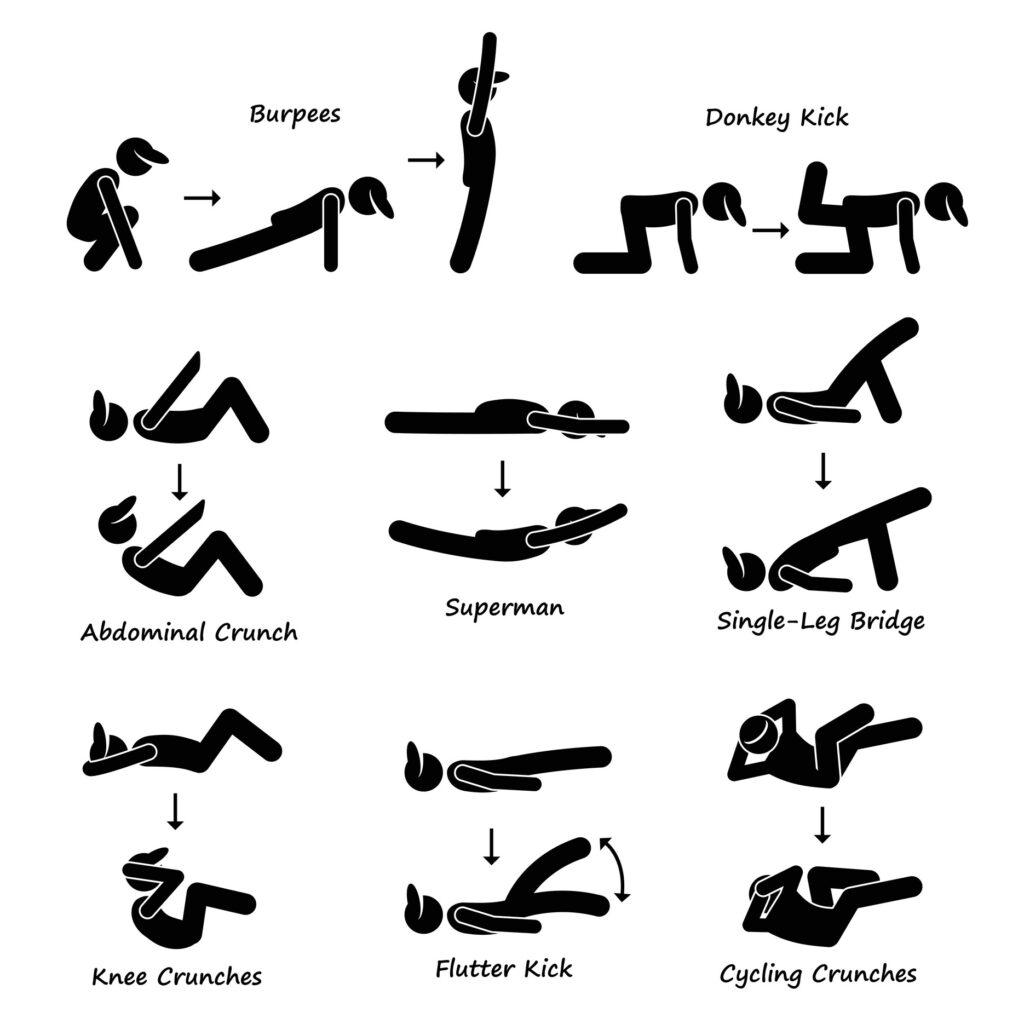 Grafik mit Körpern die sportliche Übungen machen